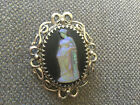 Vintage Large Whiting and Davis Saphiret Glass Cameo Brooch