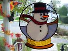 Stained Glass Snowman Globe Sun catcher  Real Glass