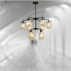 Nordic Retro Style Wrought Iron Hanging Glass Chandelier Living Room Dining Room