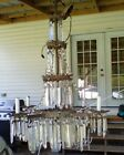 Antique 1890s Glass Crystal Chandelier gas converted to electric extra large