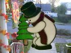 Stained Glass Snowman with Tree Sun catcher  Real Glass