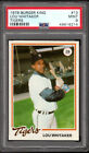 1978 Burger King Tigers #13 LOU WHITAKER centered MINT LOW POP Graded PSA 9