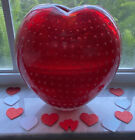 Murano Heart Shaped Bubble Glass Vase Controlled Bubbles
