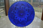 Cobalt Blue Glass 8 Footed Deep Plate Intricate Design 875
