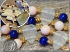 Vintage LALIQUE Frosted Leaves Angel Skin Coral Lapis Art Glass Bead Necklace