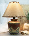Indian Tribal Southwest Navajo Vector Red Petite Vase Table Lamp W Burlap Shade