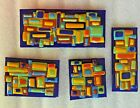4 PIECE FUSED ART GLASS SCULPTURES SIGNED BY ARTIST CARTER