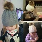 Mom and Baby Warm Winter Hats Knit Wool Furs Pom Bobble  Caps Parent-child