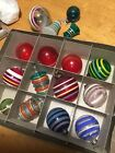 16 SHINY BRITE Vintage Striped Unsilvered Christmas Ornaments WWII NO BOX