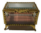 Vintage Ornate Brass Beveled Glass Gilt Brass Casket Vanity Jewelry Box Floral