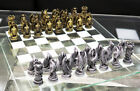 Silver Gold Fantasy Dungeons And Dragons Resin Chess Pieces With Glass Board Set