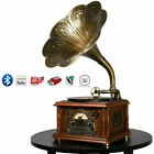 Bluetooth Phonograph Record Music Player Version Gramophone Aux In CD FM Radio