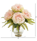 Peony  Fern Artificial Arrangement in Glass Vase Nearly Natural Home Decor Pink