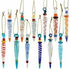 Set of 12 Colorful Glass Icicle Ornaments for Christmas Tree Decorations