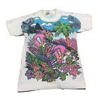 90s VTG FREEZE PINK FLAMINGO ALL OVER PRINT T Shirt Beach Surf S Miami 80s