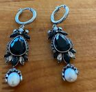 ALEXANDER MCQUEEN BLACK GLASS PEAR SHAPE PEARL DROP DANGLING PIERCED EARRINGS