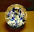 VTG ELWOOD ART GLASS CONTROLLED BUBBLE TRUMPET FLOWER PAPERWEIGHT