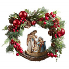 Autom Artificial Greenery Christmas Holy Family Nativity Wreath for Door 15