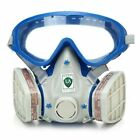 Full Face Respirator Gas Goggles Paint Spraying Chemical Double Filter Breathing