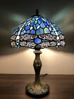Enjoy Tiffany Style Table Lamp Blue Stained Glass Dragonfly Vintage 19H12W