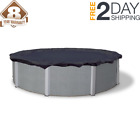 8 year 18 ft round navy blue above ground winter pool cover  wave bronze