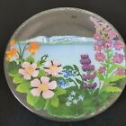 Peggy Karr Fused Art Glass Serving Plate Flowers Mount Susitna Sleeping Lady