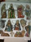 Holly Tree 12 Piece Nativity Set Painted Porcelain Christmas