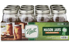 Ball 32Oz Wide Mouth Canning Mason Jar Lids Bands Clear Glass Quart Jars 12 Box