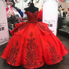 Red Sequin Quinceanera Dresses Off Shoulder Lace Appliques Sweet 16 Ball Gown