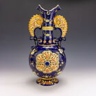 Antique Fischer Or Zsolnay Hungarian Pottery - Pierced & Gilded Cobalt Blue Vase