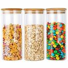 Glass Food Storage Jars Containers with Airtight Bamboo Lids Set of 3 Kitchen