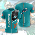 MIAMI DOLPHINS NFL 3D All Over Print T shirt M 5XL
