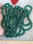 Vintage necklace Emerald Green Color Glass 28 Inch Long Antique 1920s 1940s Rare