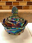 Fenton BUTTERFLY Cobalt Marigold Carnival Glass Covered Candy Dish