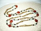 Vintage 50s Long Yellow Gold Tone Chain Necklace Carnelian  Murano Glass Beads