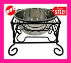 10 Inch Black Wrought Iron Stand with Single Stainless Steel Feeder Bowl