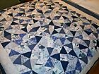 Handmade Blue Quilt Queen White Navy Grey Hand Tied Shattered Glass Double