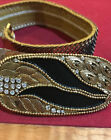 GOLD sequin SHINY Art to Wear 2 wide Stretch Black Gold Rhinestone Solid Buckle