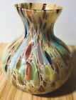 Vintage Murano Handblown Art Glass Round Vase Vibrant Color Designs