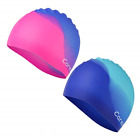 Swim Cap 2 Pack Durable Silicone Swimming Caps for Kids Girls Boys Youths Age