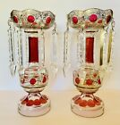 2 MAGNFICENT Bohemian Cranberry Gold GLASS Lusters Lustres Candle Holders PRISMS