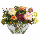 Mixed Peony W Glass Vase Silk Flower Arrangement Nearly Natural Home Decoration
