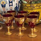 Lovely Set of 6 Italian Capodimonte Style Heavily Gilded  Painted Wine Glasses