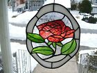 Stained Glass Red Rose Sun catcher Real Glass