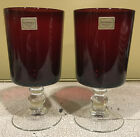 2 Luminarc Arcoroc Cavalier Of France Ruby Red Wine Goblet Glasses Clear Stem