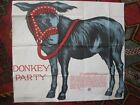 Original Donkey Party 1928 Pin the Tail Canvas Childrens Saalfield 20 x 23 Color