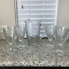 Princess House Clear Glass Fantasia Poinsettia Pattern Pitcher 2qt and 4 glasses