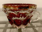 Vintage  Very Unique Ruby Red Gold Trimmed Crystal Teacup One of a Kind