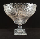 Vintage Bohemian Czech Art Glass Cut Crystal console ribbed stars PEDESTAL BOWL