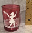 Mary Gregory Cranberry Hand Painted Glass